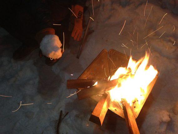 迎春の焚火